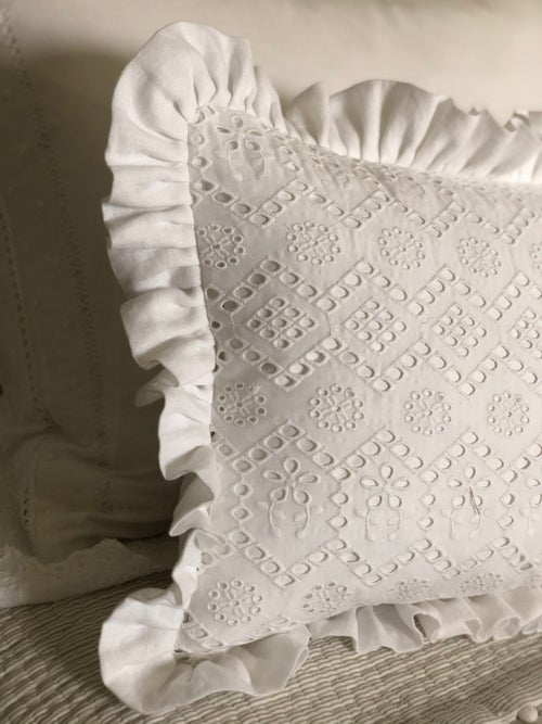 Image of Pretty Broderie Anglaise and Linen Cushion