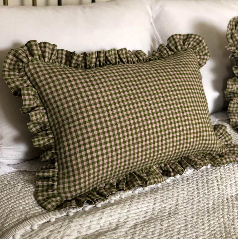Image of Lovely Green Gingham Cushions