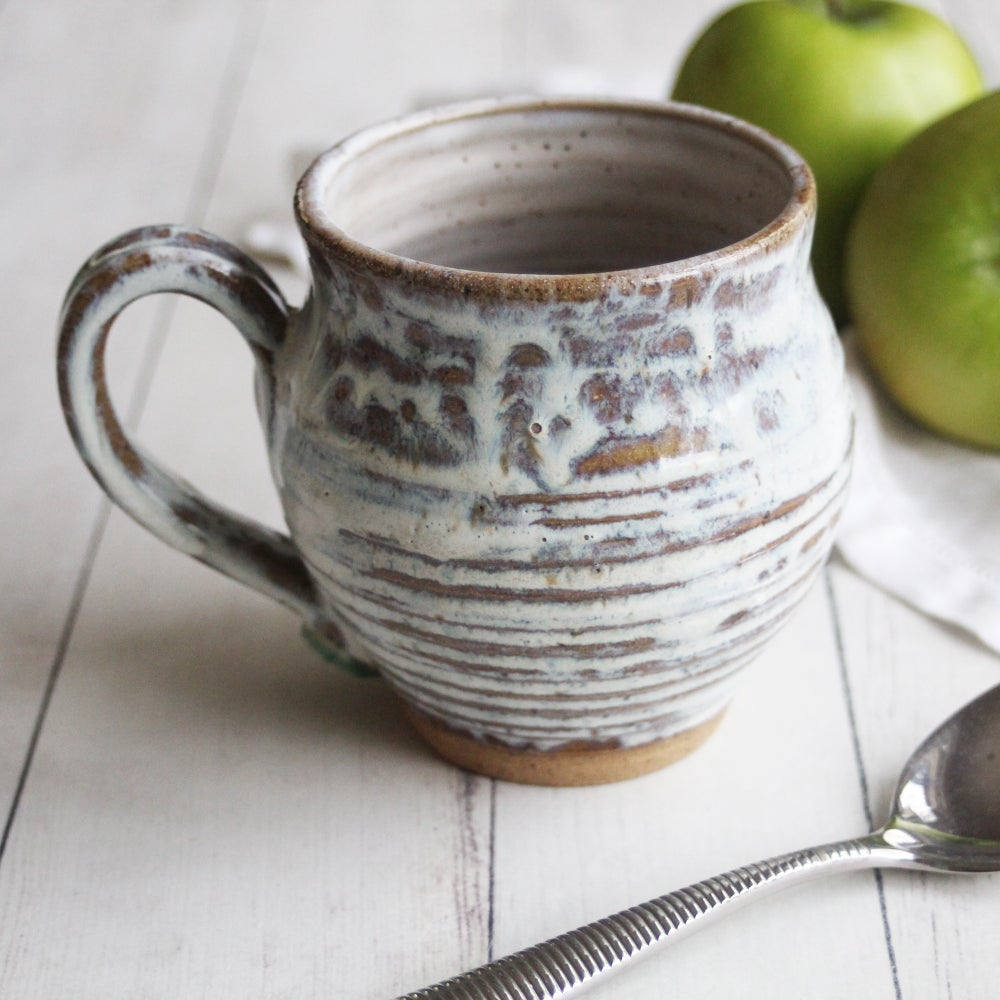 """Image of Rustic """"Love"""" Mug, 16 oz. , Handcrafted Pottery Stoneware Coffee Cup, Made in USA"""