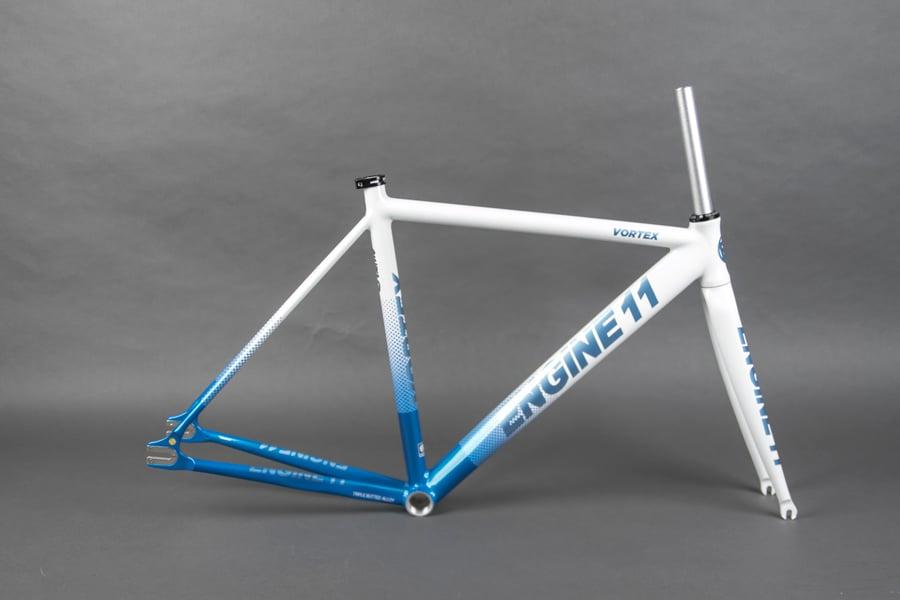 Image of 2021 E11 Vortex frameset in White Blue