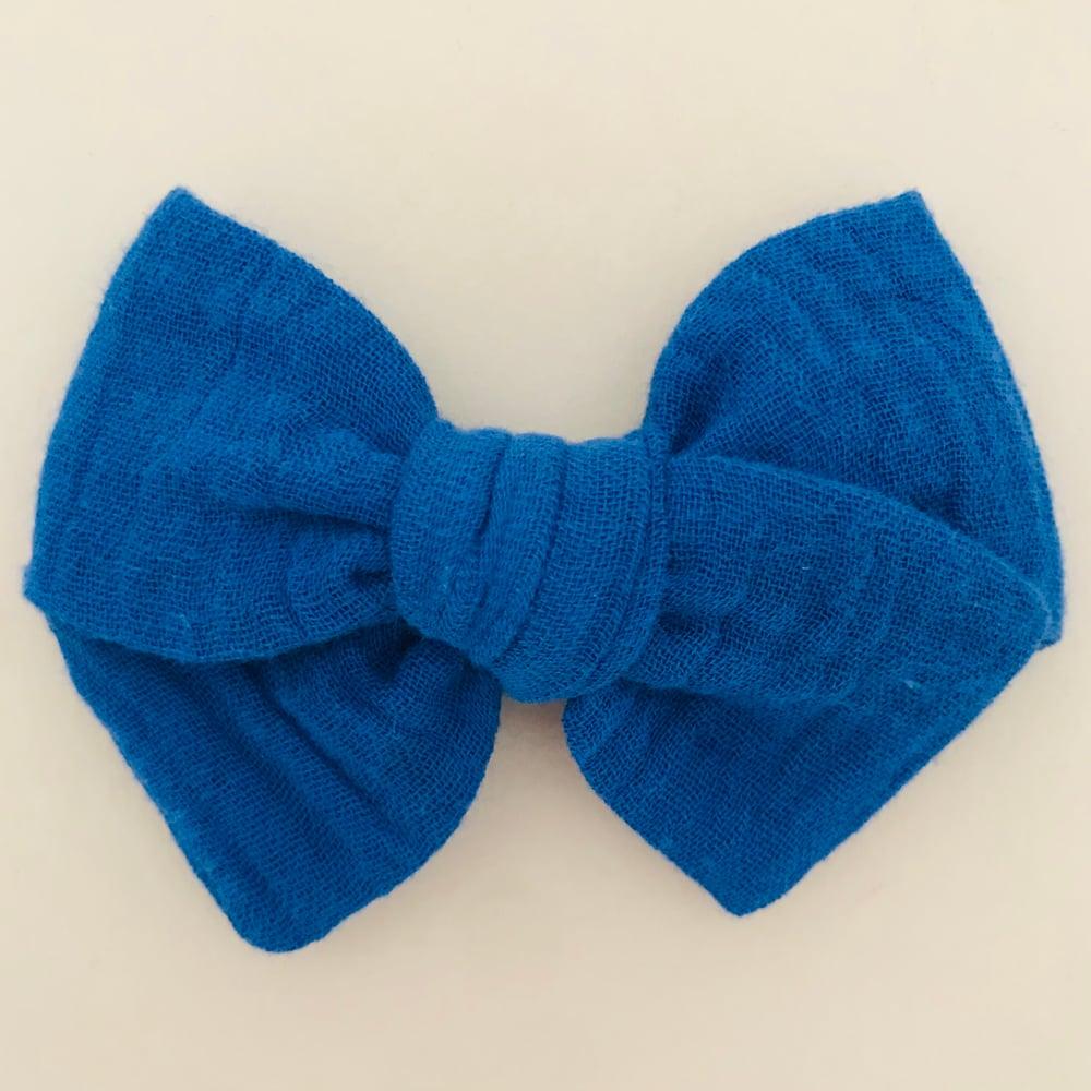 Image of Barrette double gaze bleu roi