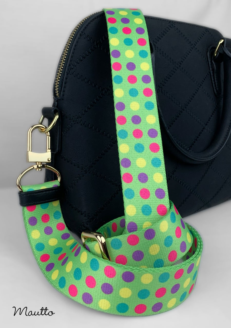 "Image of Colorful Polka Dots Strap - 1.5"" Wide Nylon - Adjustable Length - U Shape Style #16XLG Hooks"