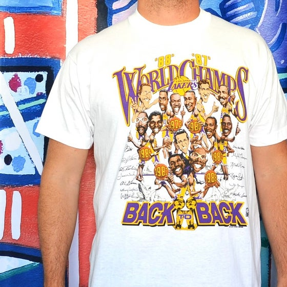 Image of Vintage 1987-88 Los Angeles Lakers Back2Back Champions Caricature T-Shirt Sz.XL