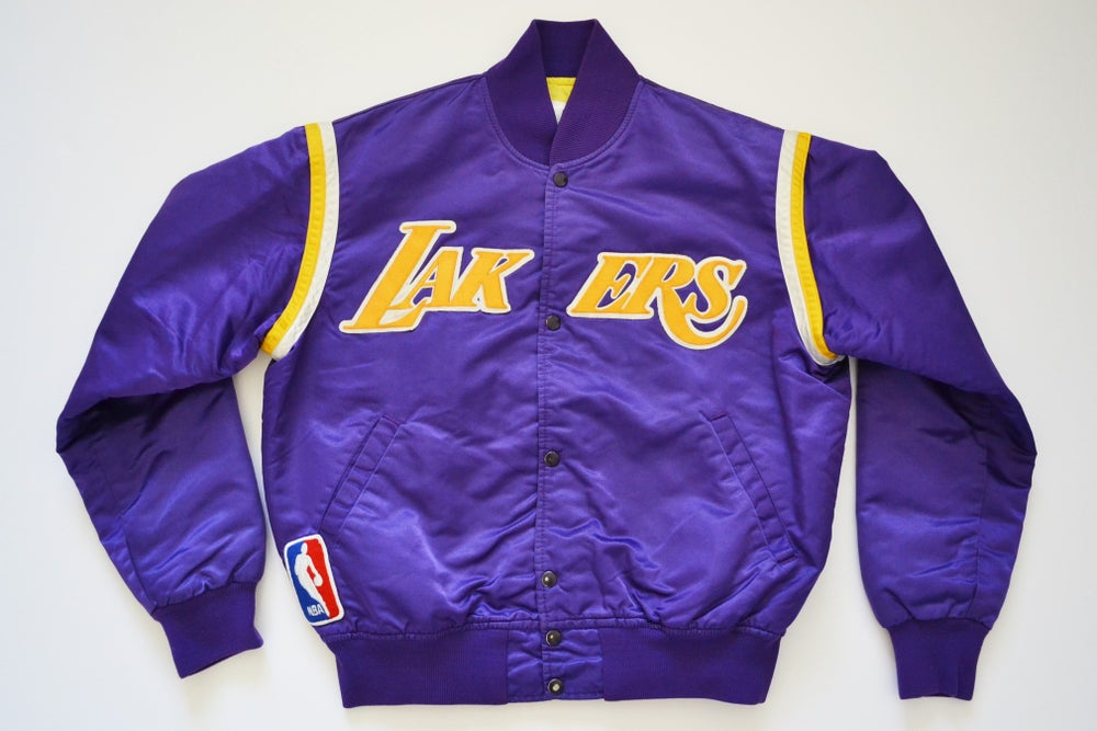 Image of Vintage 1980's Los Angeles Lakers Purple Starter Satin Jacket Sz.L
