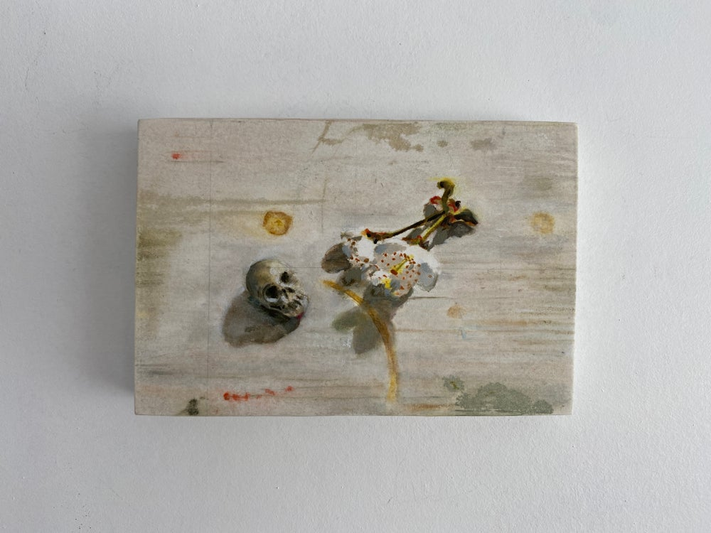 Image of Small Skull #3 Made of Chewing Gum with Blossom
