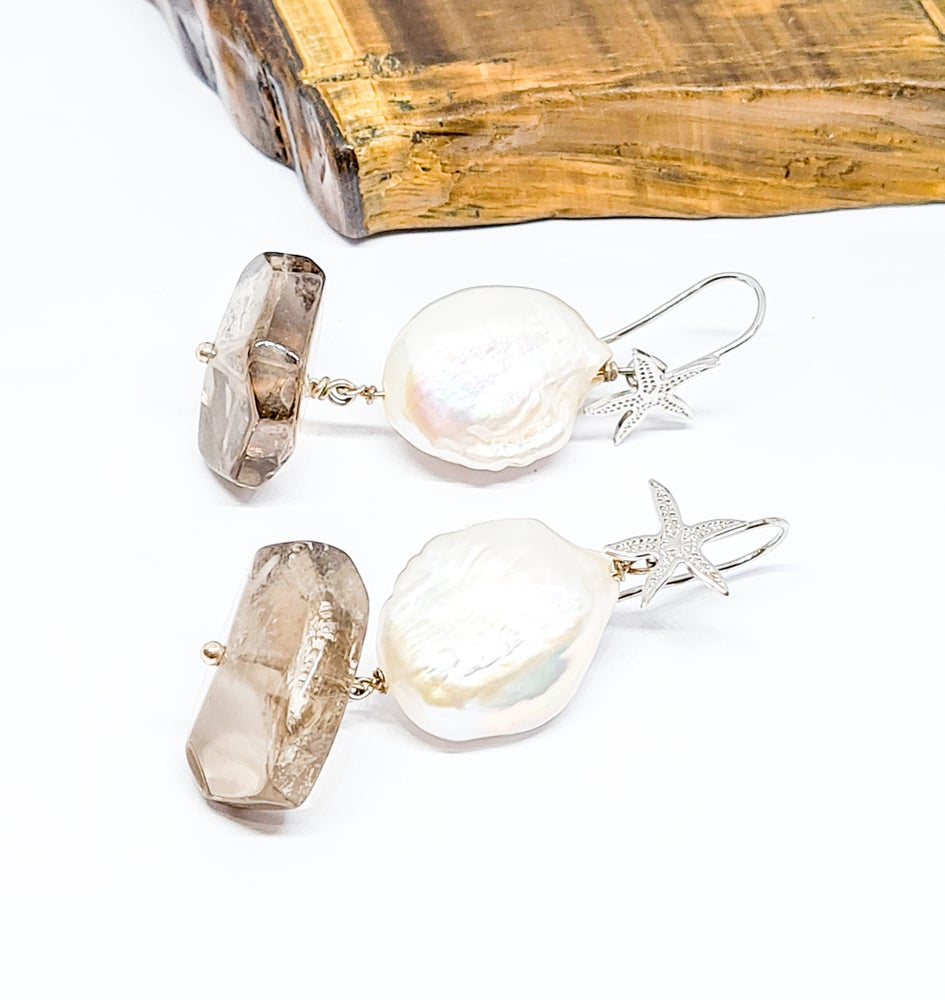 Image of Pearl and Smoky Quartz Earrings