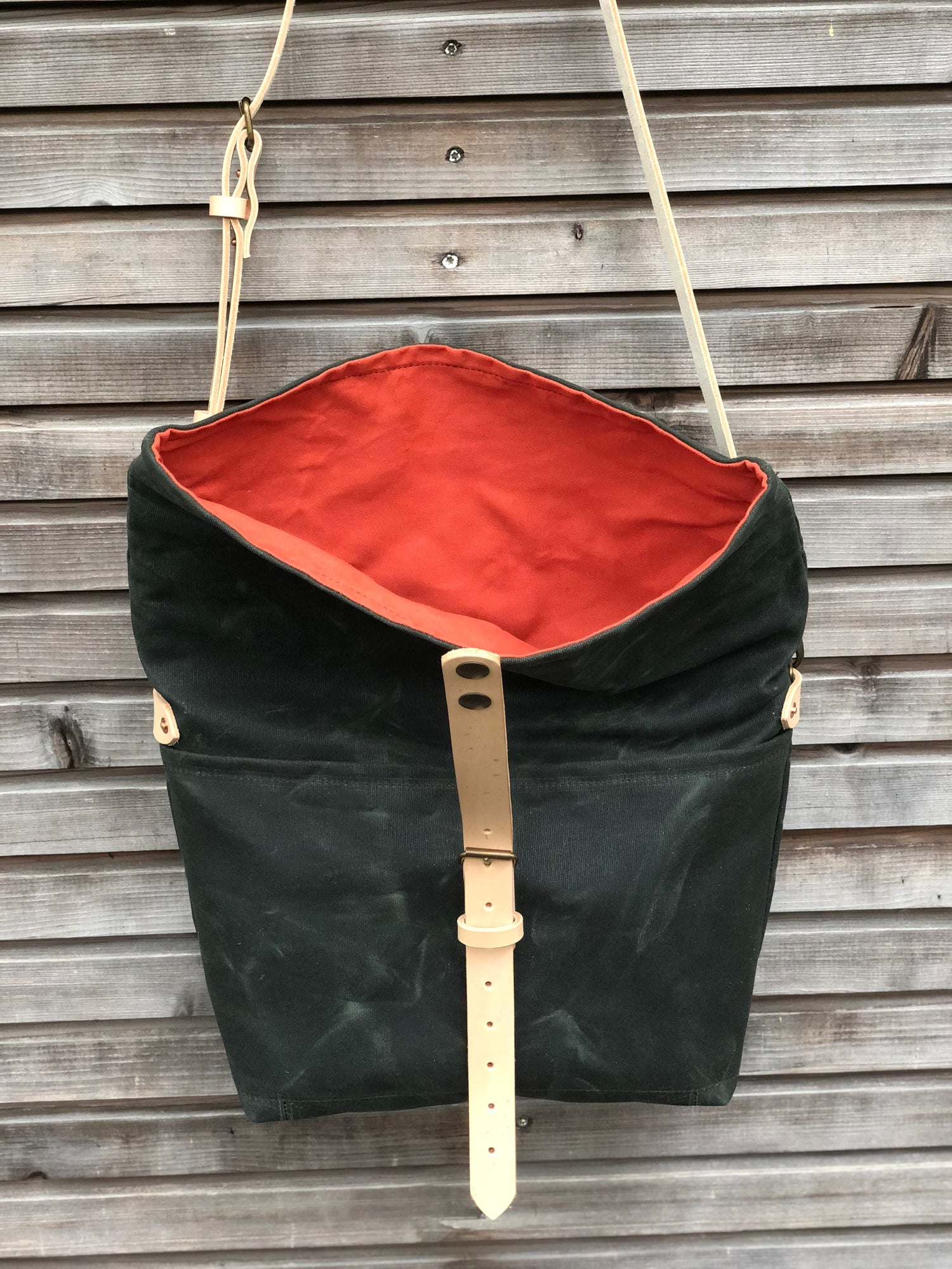 Image of Forest green waxed canvas messenger bag / cross body bag with double waxed canvas padded bottom COLL