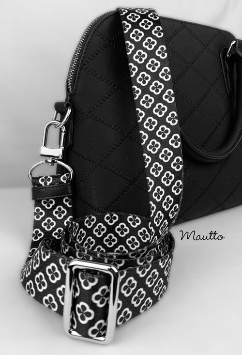 """Image of Black & White Byzantine Strap - 1.5"""" Wide Nylon - Adjustable Length - U Shape Style #16XLG Hooks"""