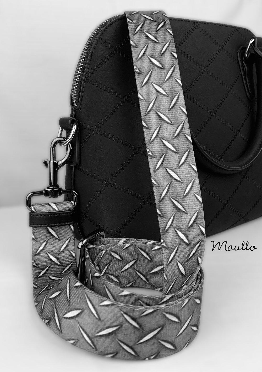 "Image of Diamond Plate Design Bag Strap - 1.5"" Wide Nylon - Adjustable Length - Dog Leash Style #19 Hooks"