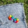 Mini Bright Rainbow Hoop of Fluffs Earrings