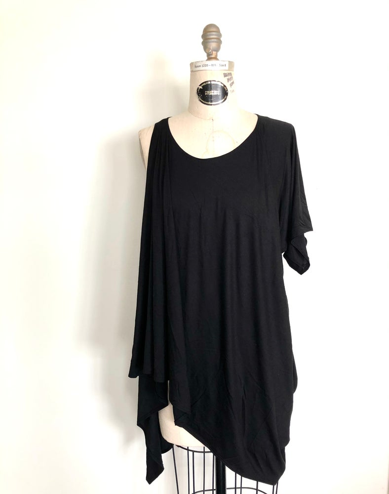 Image of One sleeve draped jersey top