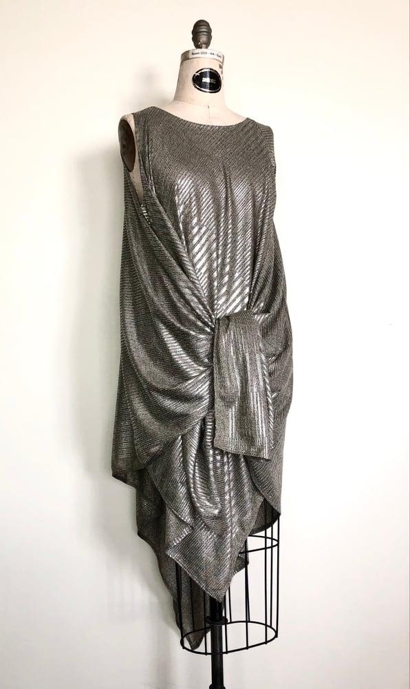 Image of Trapeze tie dress metallic