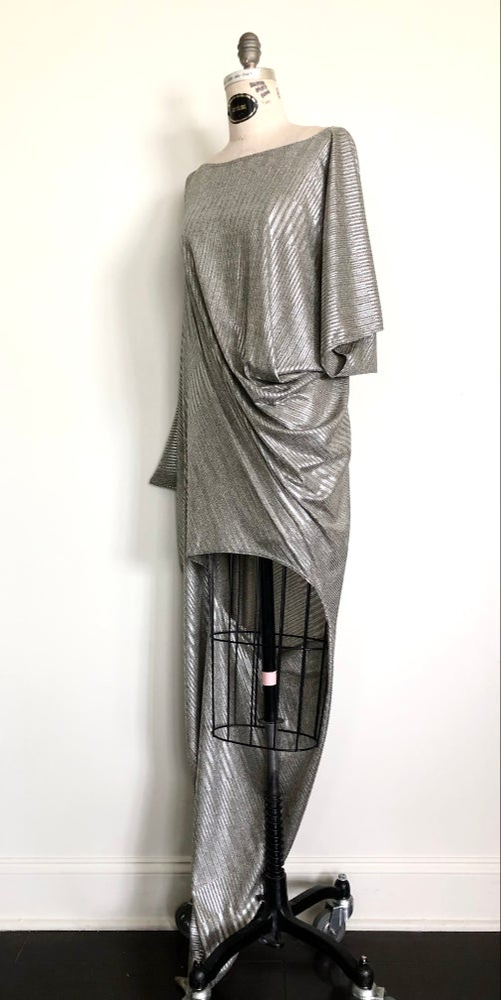 Image of Asymmetric draped top metallic