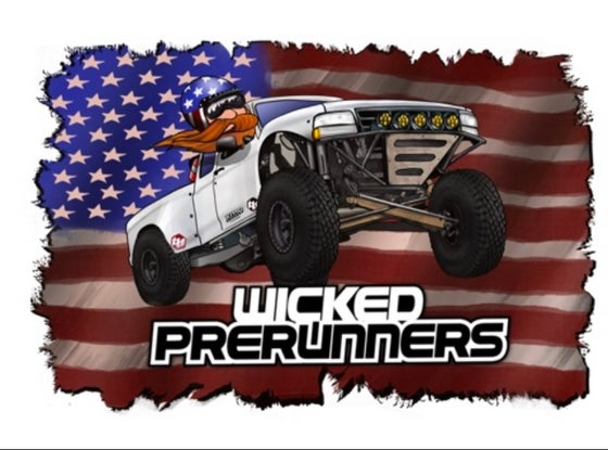 "Image of 4x4 American flag ft. Cartoon Sticker  ""Goofball"""