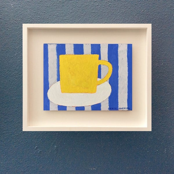 Image of Yellow Cup and Blue Stripes