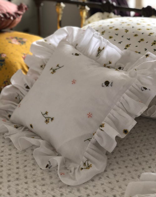 Image of Hand embroidered Bees and flower Cushions