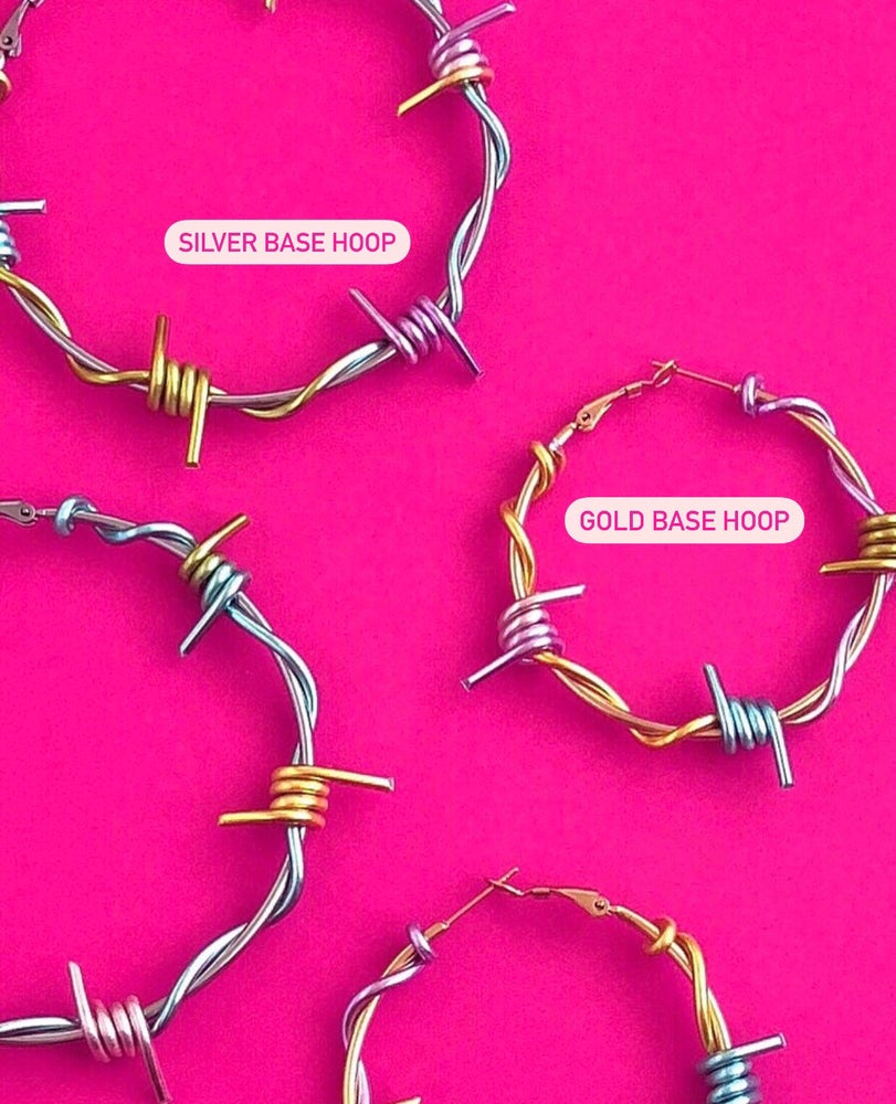 Image of LARGE CANDY BARBED WIRE HOOPS