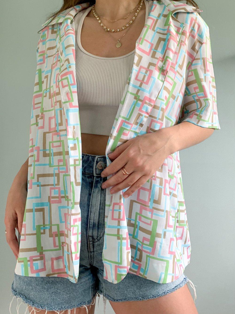 Vintage pastel geometric blouse