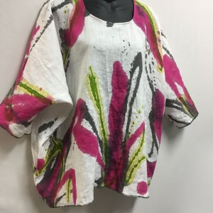 Image of Lorna Top - European Linen - Hand Painted