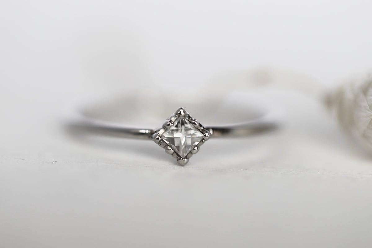 Image of Platinum 3mm french cut white diamond ring (IOW183)