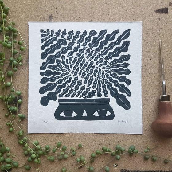 Image of Originalt linosnitt - squiggly plant av Anine Hansen