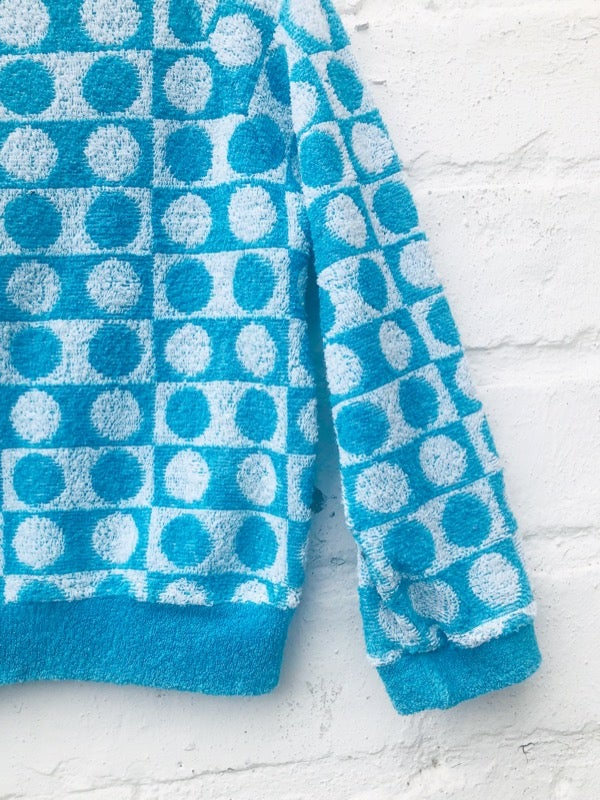 Image of Sky blue and white, towelling sweatshirt with graphic pattern. Age 1-2yrs.