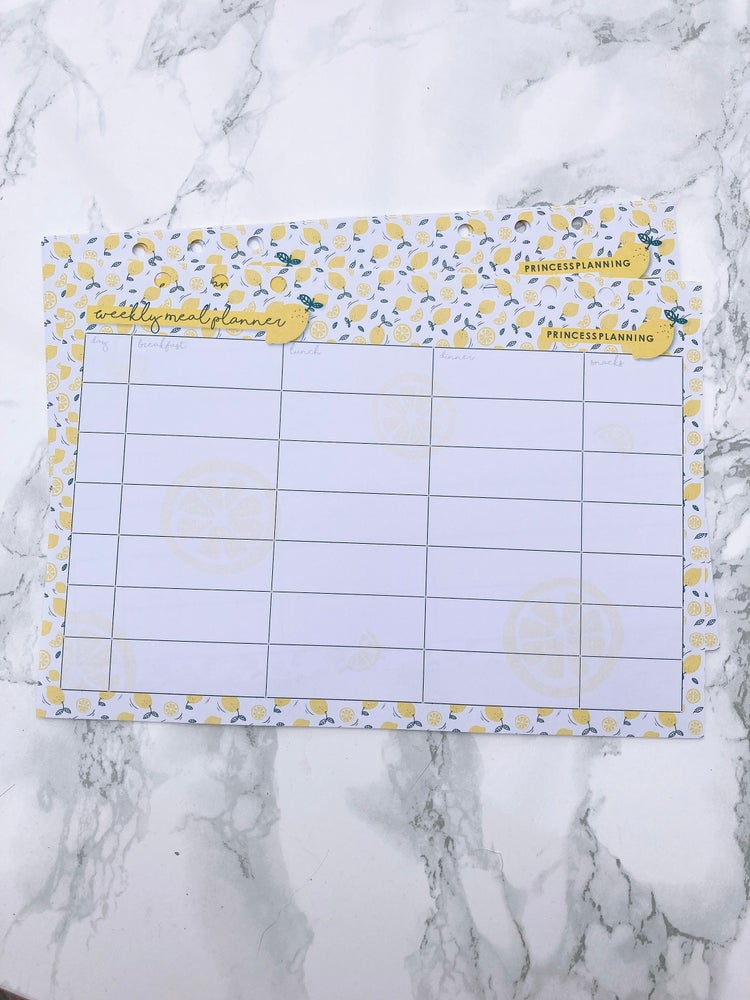 Image of A5 LEMON WEEKLY MEAL PLANNING INSERTS REFILL
