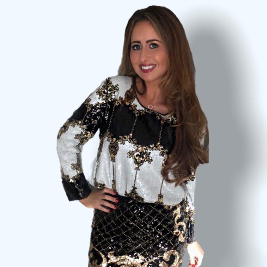 Image of Black Sequin Embellished Top