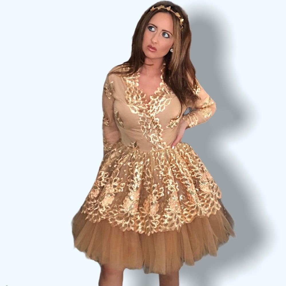 Image of Gold Birthday Prom Dress