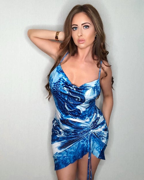 Image of Blue Dragon Ruched Dress