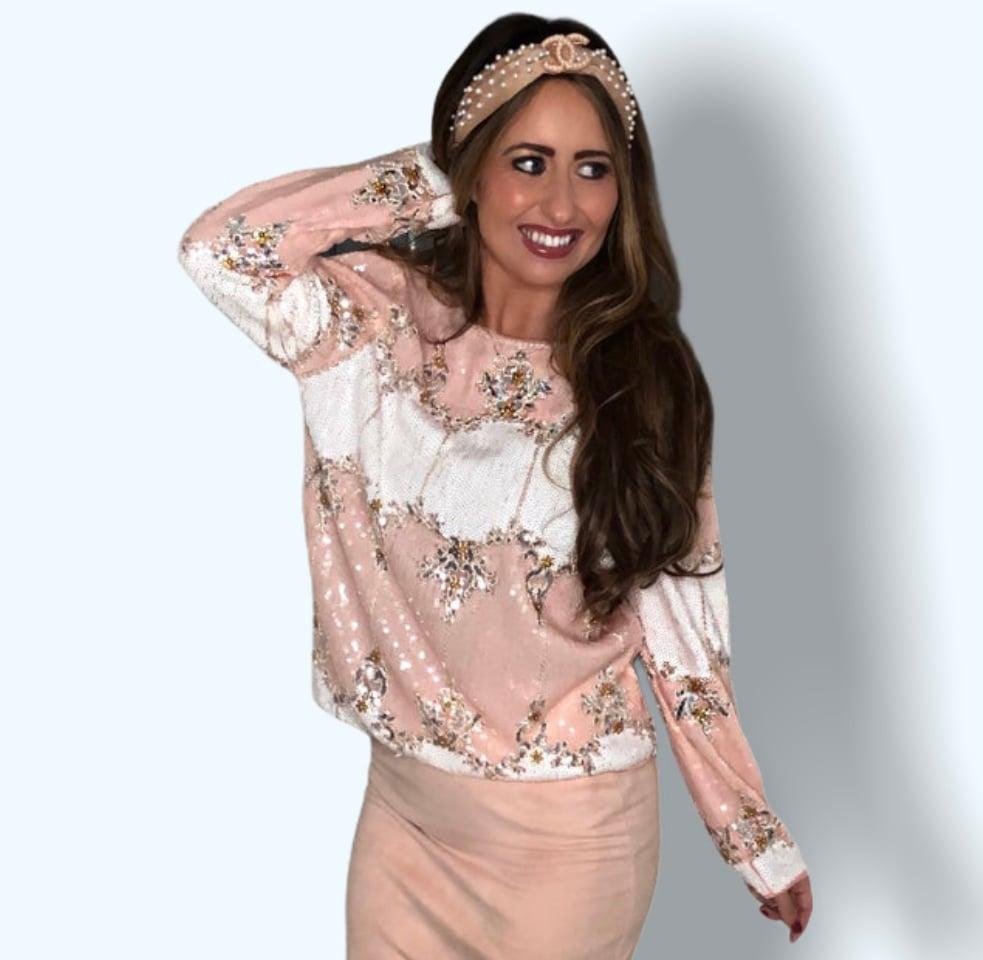 Image of Pink Sequin Embellished Top