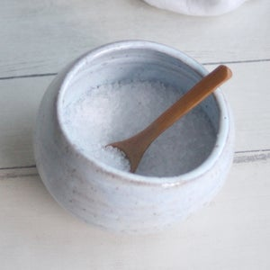 Image of Salt Cellar in Icy White Speckled Stoneware, Handcrafted Salt Pig, Made in USA