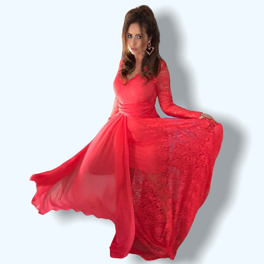Image of Coral Lace Chiffon Gown