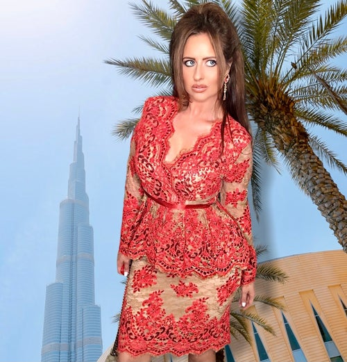 Image of Coral Sequin Lace Peplum Dress