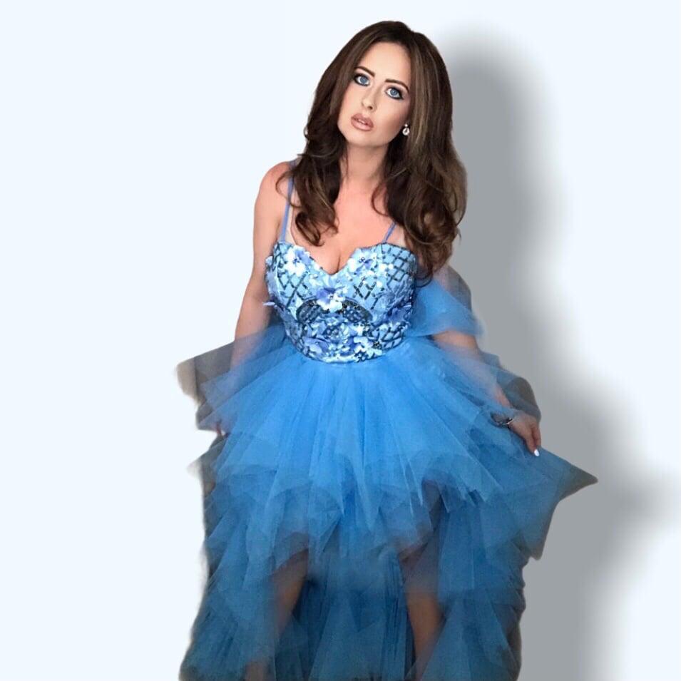 Image of Sequin Embellished Mullet Tulle Prom Dress