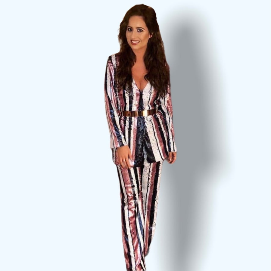 Image of Striped Sequin Suit