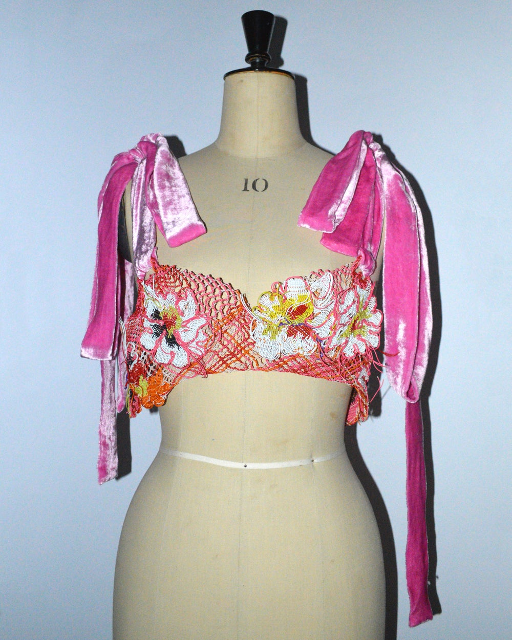 Recycled Wire Lace Bra with Adjustable Pink Velvet Straps and Vintage Button Closure
