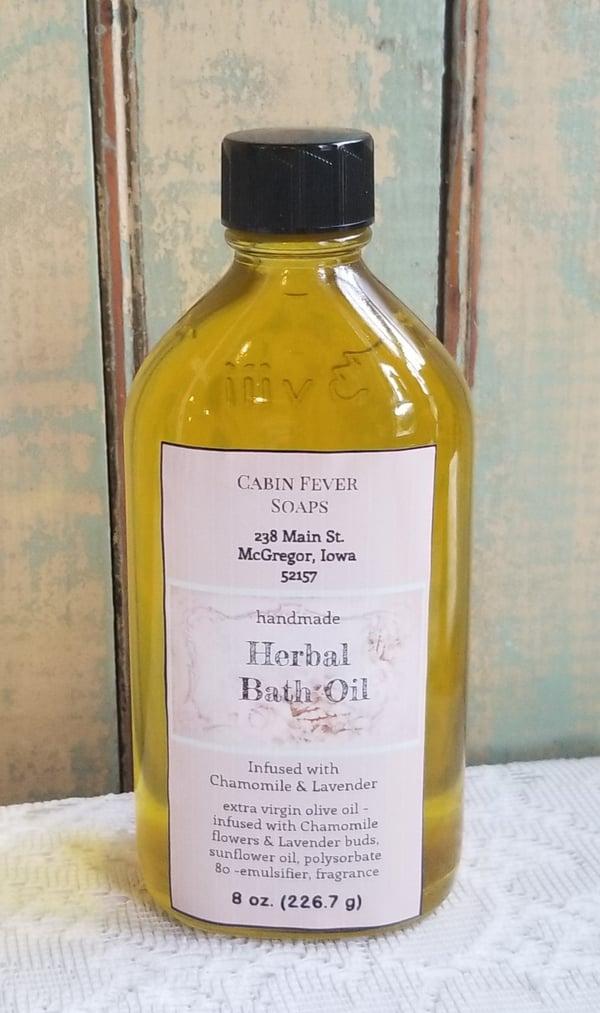 Image of Herbal Bath Oil 8 oz, 4 oz -Chamomile/Lavender infusion