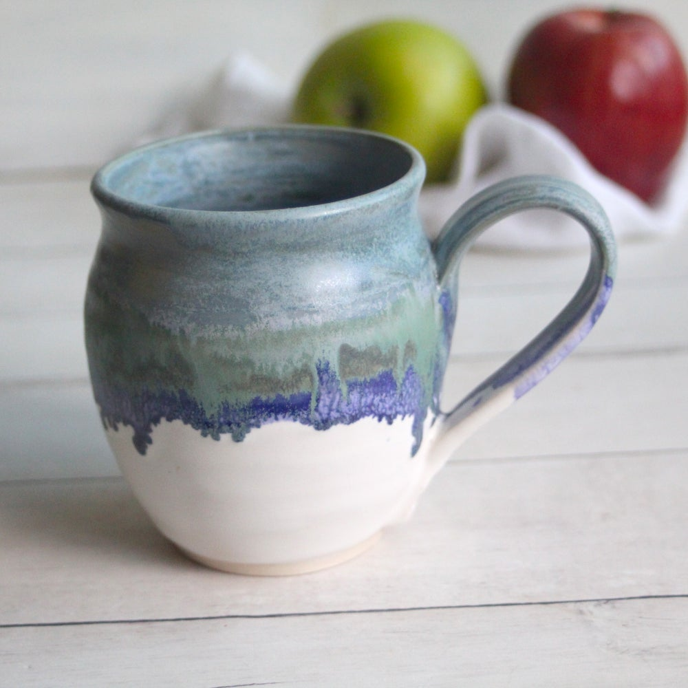 Image of Mug in Blue, Purple and White Matte Glazes, Handcrafted Coffee Cup 14 oz, Made in USA
