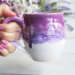 Image of Purple, Pink and White Mug, Handcrafted Pottery 14 oz. Coffee Cup, Made in USA