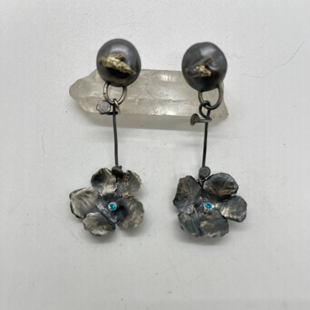 Image of Blossom Dangle Earrings with Blue Cubic Zirconium