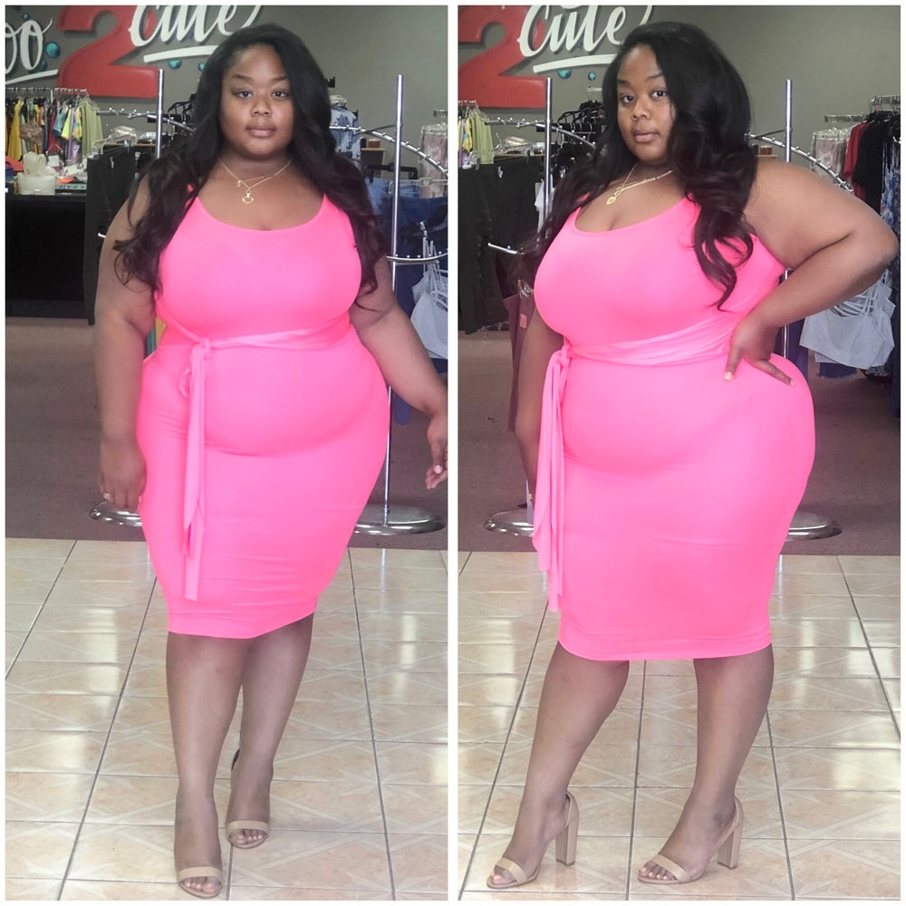 Image of #1048 NEON PINK PLUS SIZE TIE FRONT DRESS