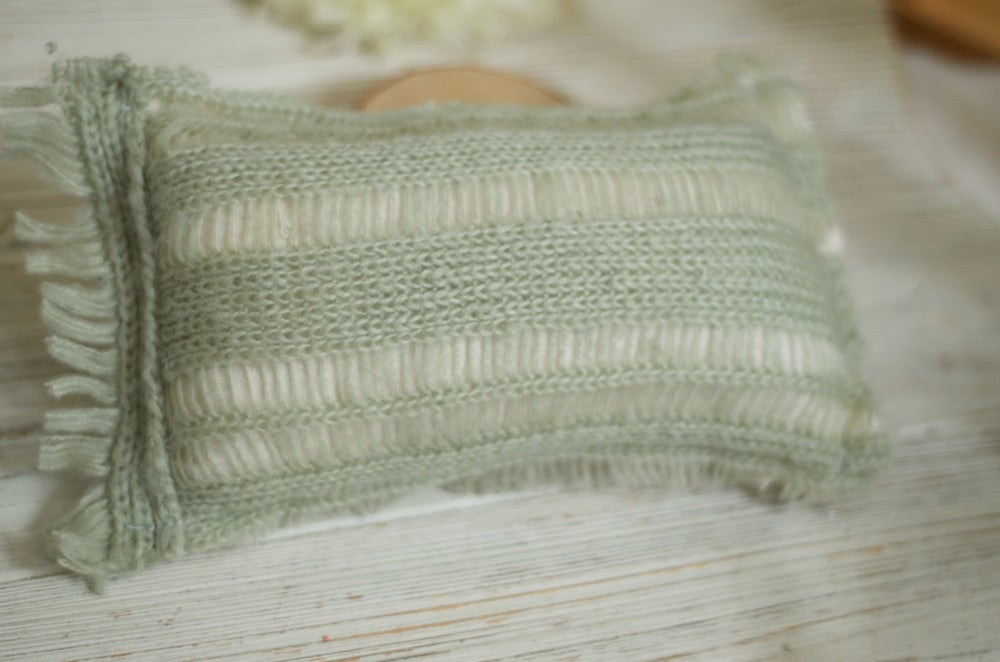 Image of Mint mohair knit pillow