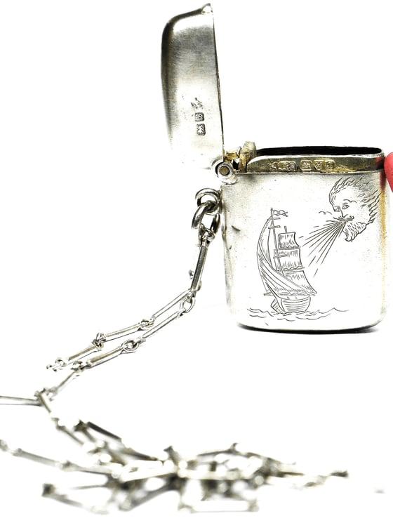 Image of Hand Engraved Antique Match Safe