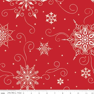 """Image of Snowed In Snowflakes 108"""" Wide Back in Red"""