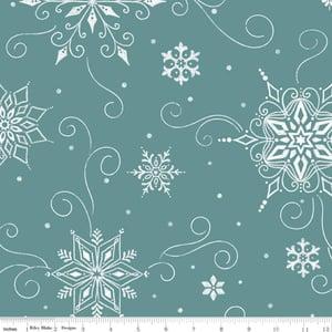 """Image of Snowed In Snowflakes 108"""" Wide Back in Teal"""