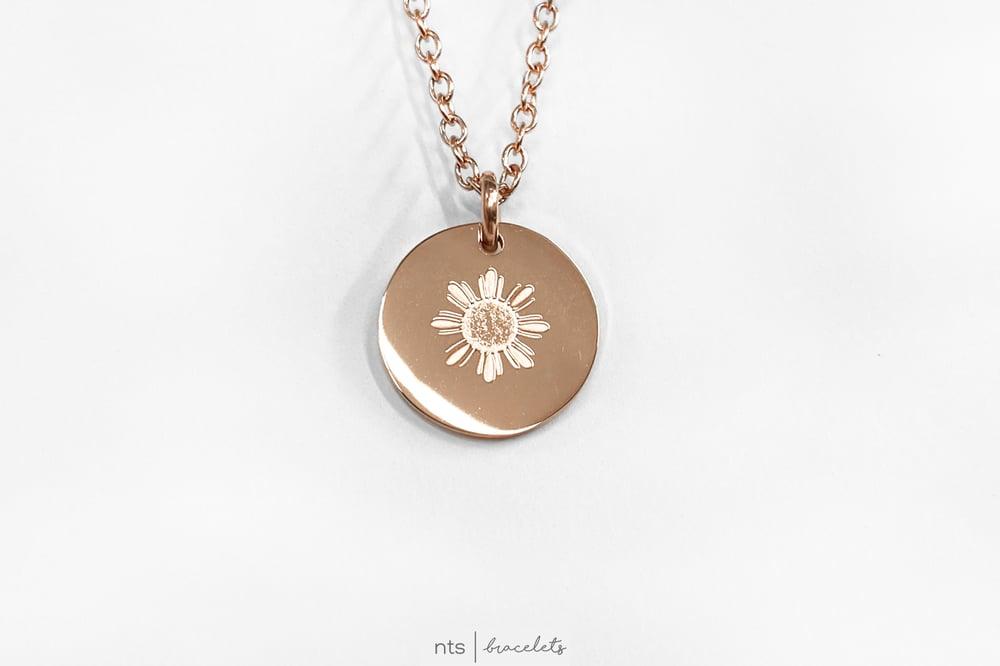 Image of MAGANDA/BEATUIFUL FILIPINA SUN NECKLACE (Circle Pendant + Rose Gold)