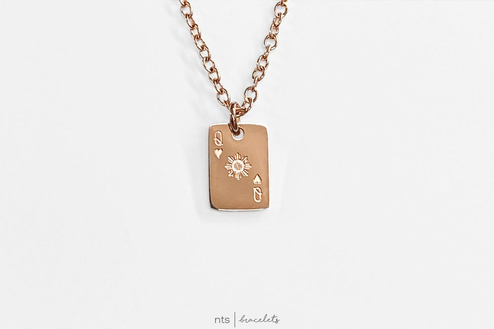 Image of FILIPINA REYNA/QUEEN OF HEARTS NECKLACE (Card Pendant+ Rose Gold)
