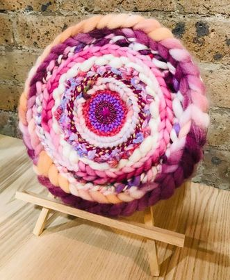 Image of Swirling in Pink Circular Weaving