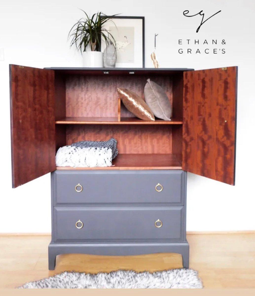 Image of Stag mahogany linen cupboard in dark grey